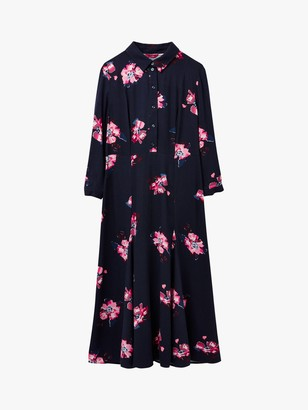 Joules Carla Floral Print Long Dress, Navy