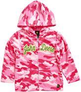 John Deere Toddler Girl Pink Camouflage Microfleece Zip-Up Hoodie