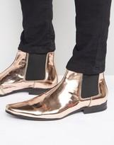 Asos Chelsea Boots In Metallic Copper