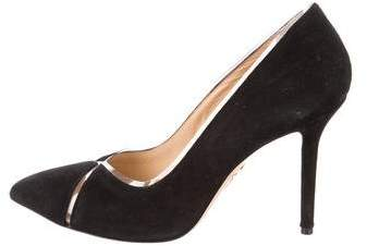 Charlotte Olympia Suede PVC-Trimmed Pumps