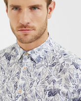 Ted Baker Leaf and bird print cotton shirt