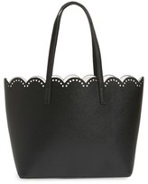 BP Junior Women's Scalloped Faux Leather Tote - Black