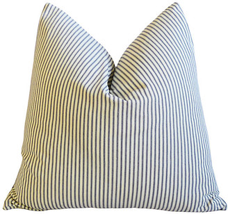 One Kings Lane Vintage French Blue-Gray Ticking Striped Pillow