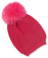 Adrienne Landau Fox Fur Pom Hat