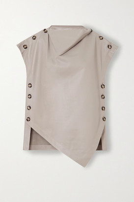 Proenza Schouler Oversized Button-detailed Draped Leather Top - Gray