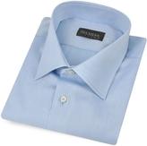 Del Siena Handmade Light Blue Twill Cotton Italian Slim Dress Shirt