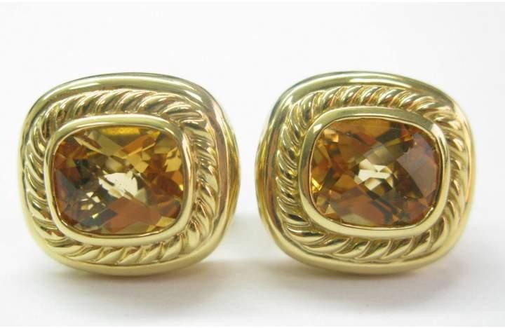 David Yurman 18K Y/G & Citrine Square Huggie Earrings