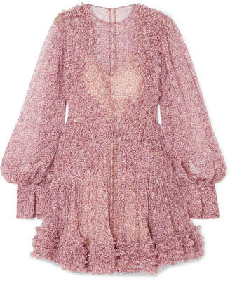 Stella McCartney Ruffled Floral-print Silk-crepon Mini Dress - Blush