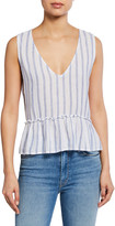 Rails Mira Striped V-Neck Sleeveless Peplum Top