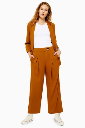 Topshop Tan Cropped Wide Leg Pant
