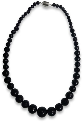 V3 Jewelry Sterling Silver Black Agate Graduated Bead Necklace - White