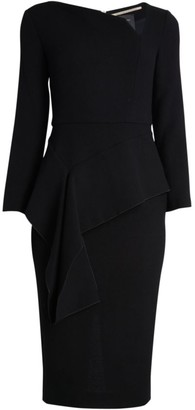 Roland Mouret Abbaye Asymmetric Ruffle Peplum Wool Sheath Dress