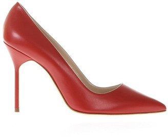 Manolo Blahnik Red Leather Bb Pumps