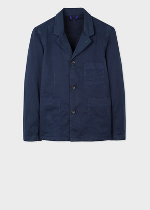 Paul Smith Men's Dark Navy Garment-Dyed Convertible-Collar Jacket