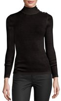 Burberry Merino Wool Button-Turtleneck Sweater, Black