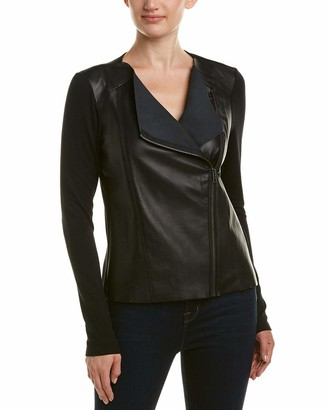 Michael Stars Women's Leather Mix Zip Moto Jacket
