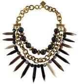 Ashley Pittman Kali Agate Mixed Horn Beaded Spike Necklace