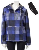 Zeroxposur plaid hooded water-resistant soft shell jacket