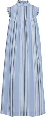 Ganni Ruffle-trimmed Pintucked Striped Cotton Midi Dress