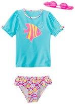 Jump N Splash Girls' Wish Fish TwoPiece Short Sleeve Rashguard Set w/ Free Goggles (4-6X) - 8143055