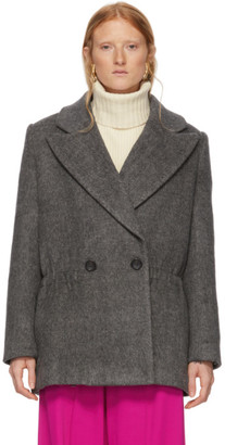 Tibi Grey Wool Plush Coat