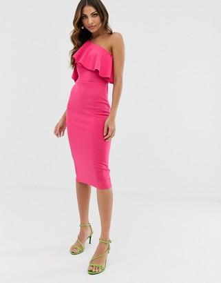 ASOS DESIGN one shoulder ruffle detail midi dress