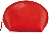 Neiman Marcus Large Dome Leather Cosmetic Bag, Orange
