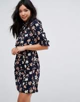 boohoo Floral Frill Detail Tea Dress