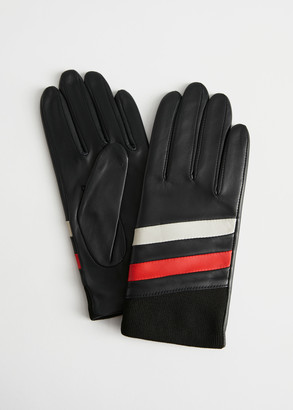 And other stories Colour Block Striped Leather Gloves