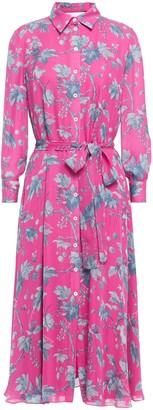 Carolina Herrera Belted Floral-print Silk-crepe Shirt Dress