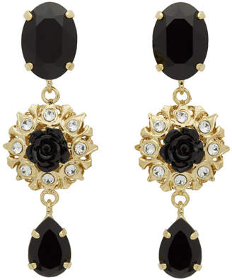 Dolce & Gabbana Gold and Black Strass Evening Clip-On Earrings