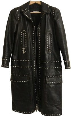 DSQUARED2 Black Leather Coat for Women