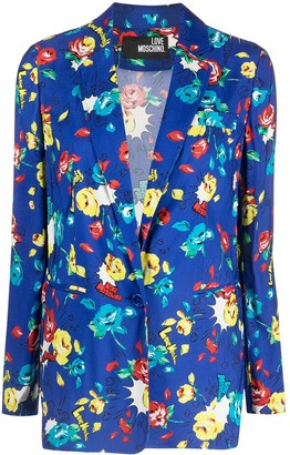 Love Moschino Floral-Print Single-Breasted Blazer
