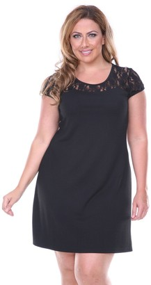 White Mark Plus Size Lace-Trim Fit & Flare Dress