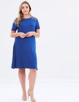 Lace Insert Fit & Flare Dress