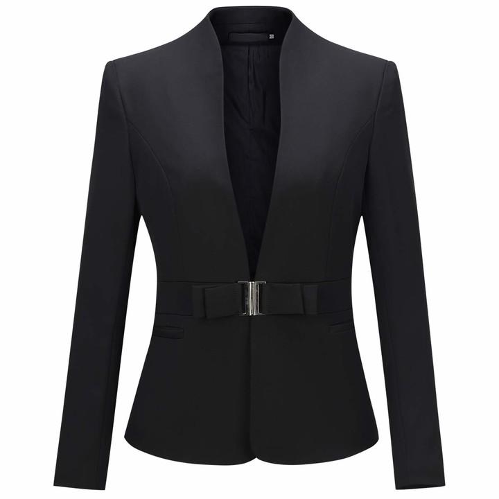 YYNUDA Womens Blazer Double Breasted Slim Fit Smart Casual Formal Jacket Plaid Ladies Blazer Jackets