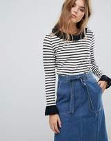 Leon And Harper Striped T-Shirt With Contrast Ruffle Trim