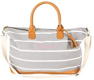 Cathy's Concepts Bridesmaid Grey Striped Weekend Tote