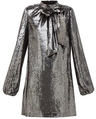 No.21 No. 21 - Bow-applique Balloon-sleeve Sequinned Mini Dress - Silver