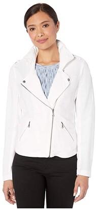 Nic+Zoe Linen Biker Jacket (Paper White) Women's Clothing