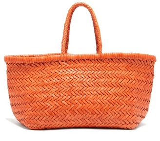 DRAGON DIFFUSION Triple Jump Small Woven-leather Basket Bag - Orange