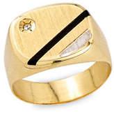 Fine Jewellery Onyx 10K Gold Strip Signet Ring with 0.1 TCW Diamonds