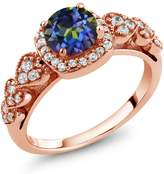 Gem Stone King 1.32 Ct Round Blue Mystic Topaz 18K Rose Gold Plated Silver Ring