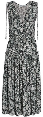 Proenza Schouler White Label Printed Georgette Midi Dress