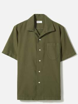 Universal Works Light Olive Cotton Open Collar Oxford Shirt - light olive | cotton | medium - Light olive