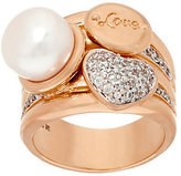 Honora As Is Cultured Pearl 10.0mm and Crystal Love Bronze Ring