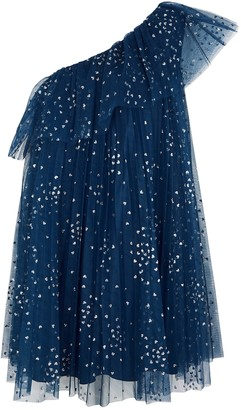 RED Valentino Navy Glittered Tulle Mini Dress