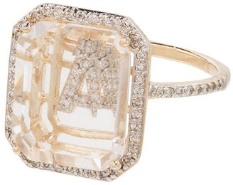 Mateo 14kt Yellow Gold Diamond-Embellished Initial Ring