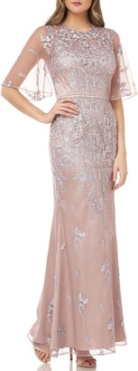 JS Collections Floral Embroidered Evening Gown