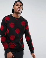 Criminal Damage Sweatshirt In Black With Rose Print